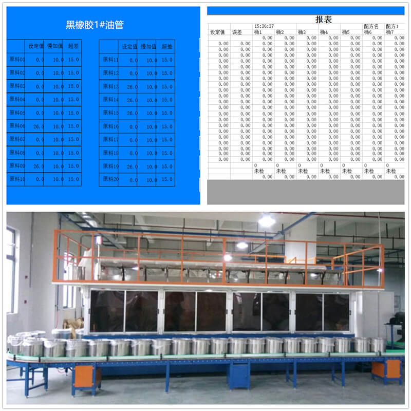 According to the raw material formula, full automatic weighing system.